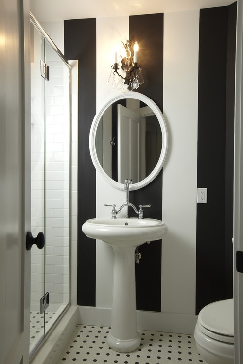 Black and White Striped Wallpaper Used By Bec and George The Block 500x750
