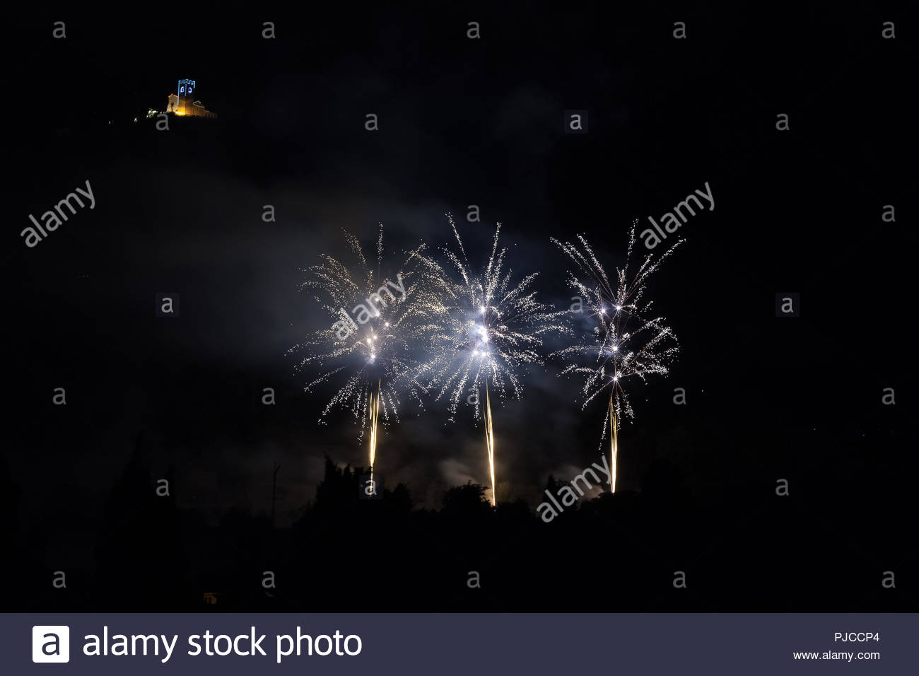 Three fireworks on the feast of the patron saint of the city whose 1300x956