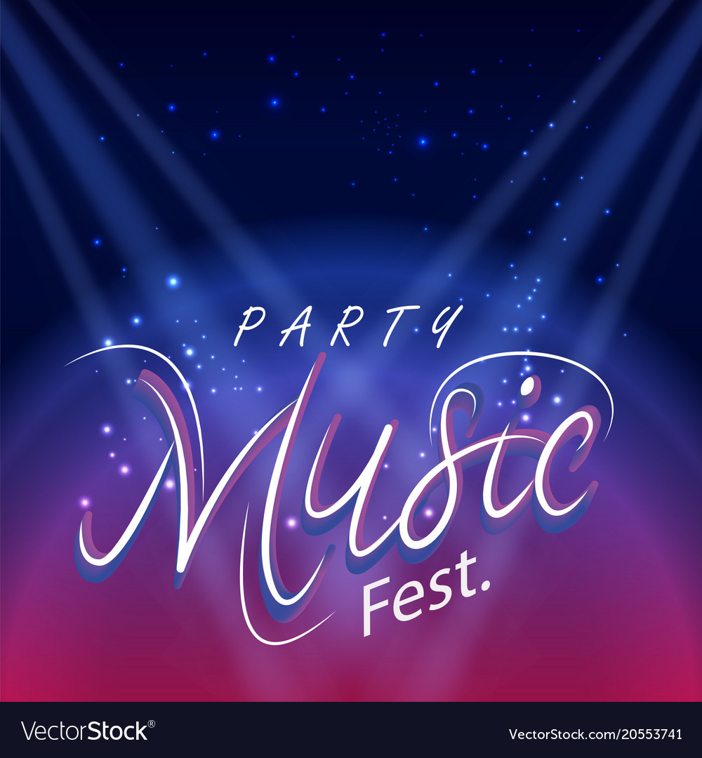 Party music fest spot light blue background Vector Image 1000x1080