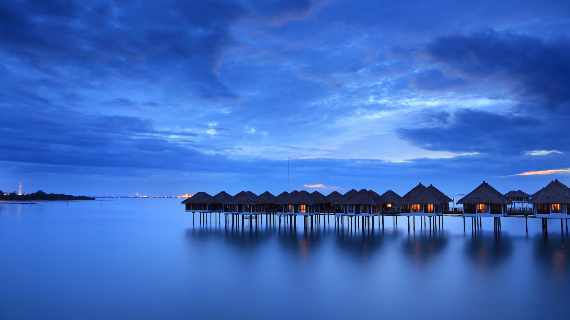 Download Wallpaper 1920x1080 calm sea houses beach malaysia Full 1920x1080