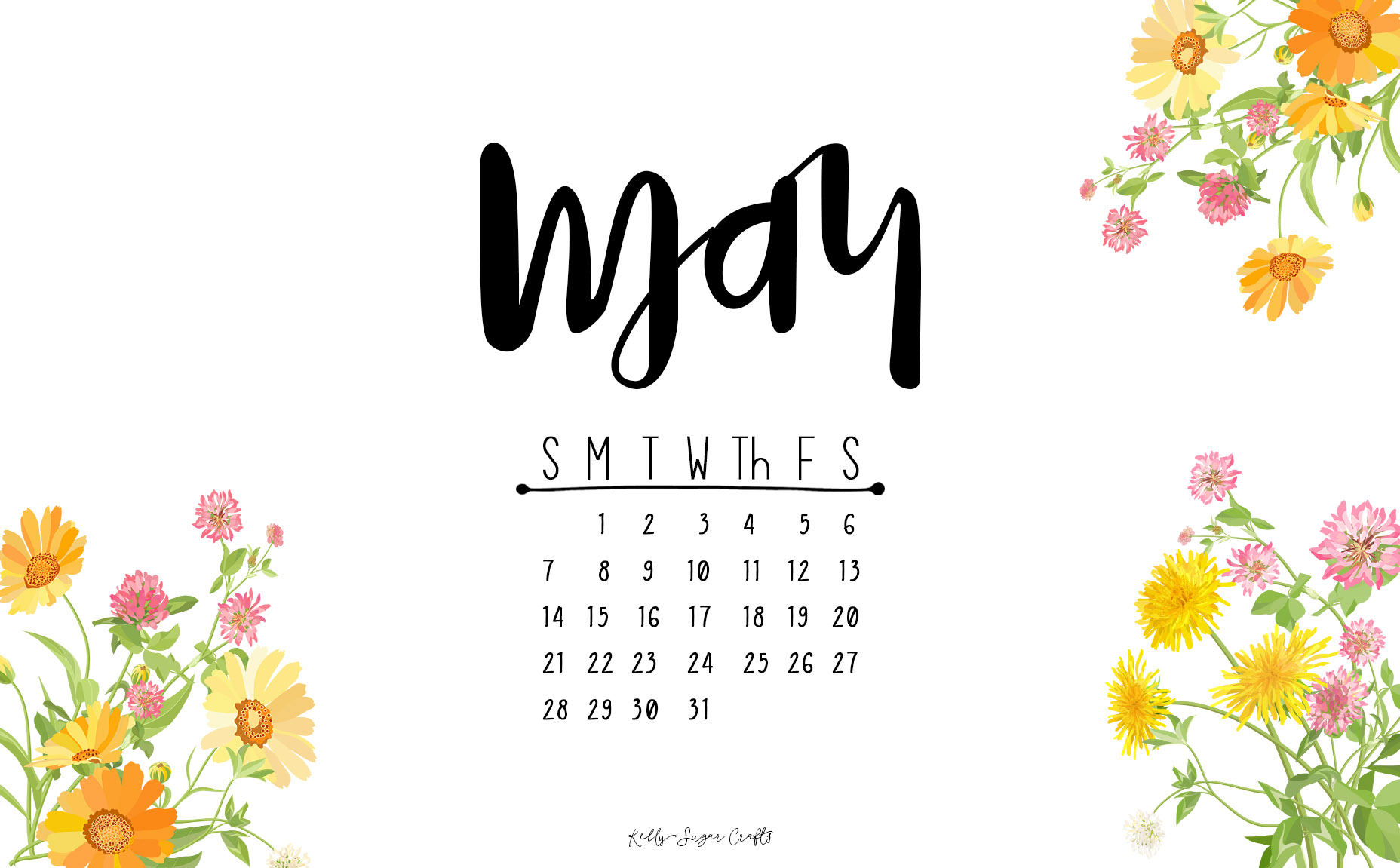 May 2017 Printable Calendar Wallpapers Kelly Sugar Crafts 1856x1151