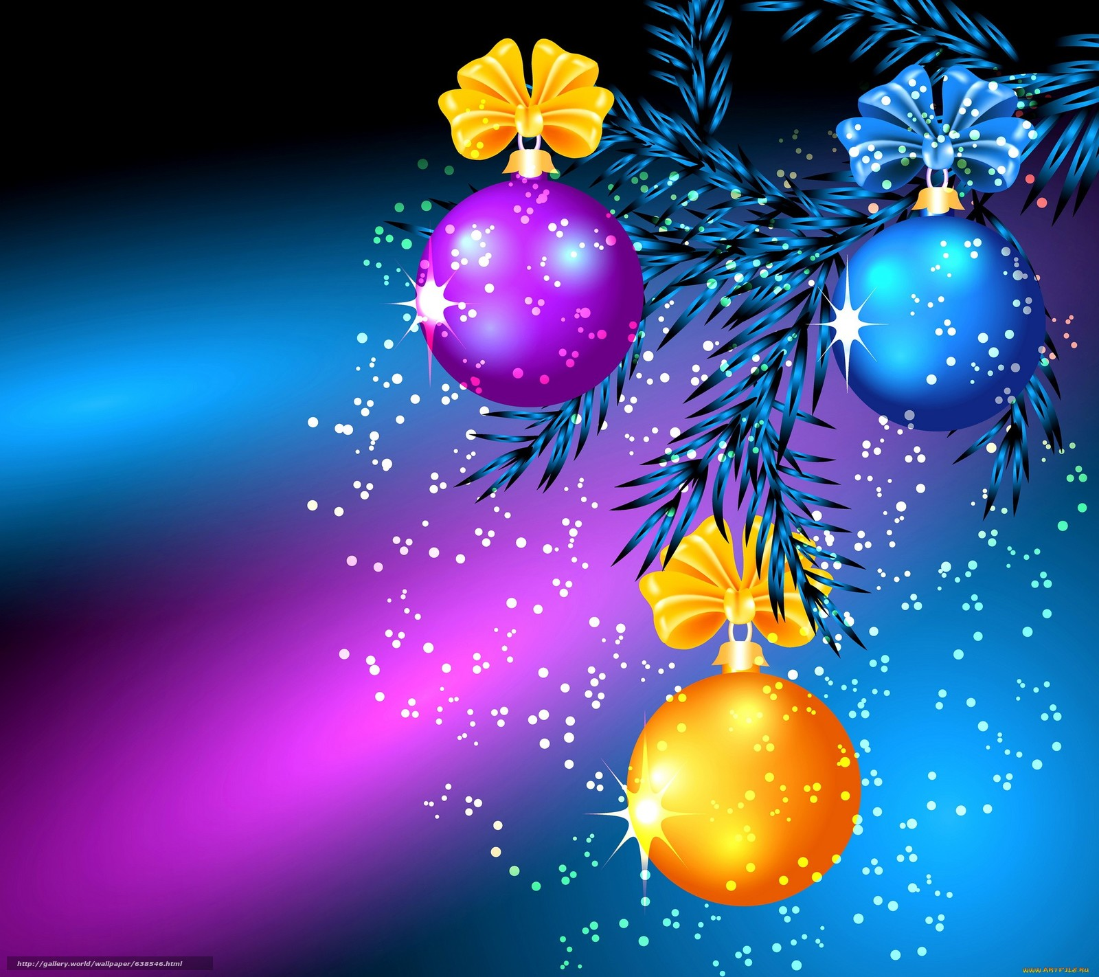 Download wallpaper New Year tree branch Balloons 1600x1422