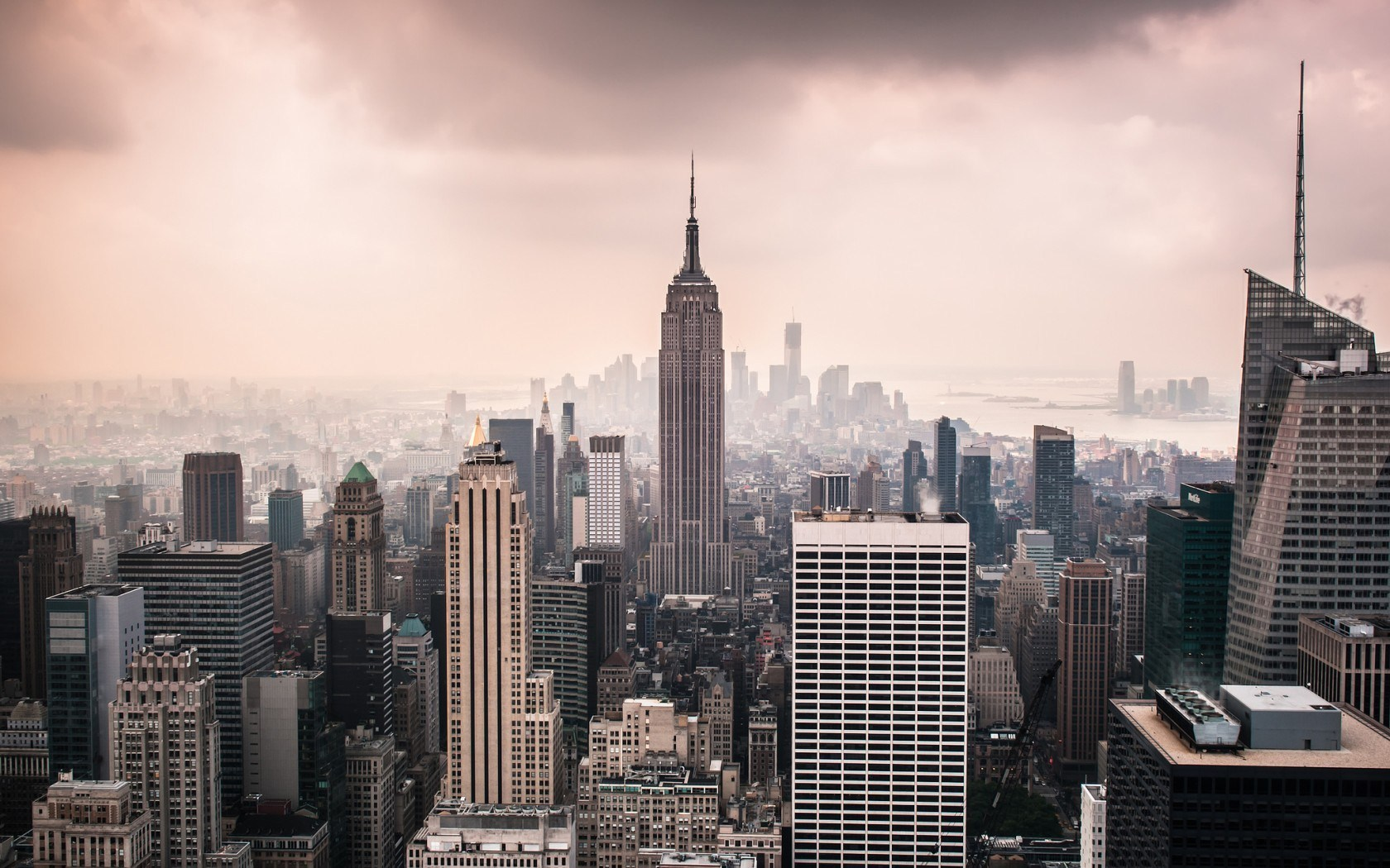 new york USA city towers photo skyline vintage hd wallpaper 1680x1050