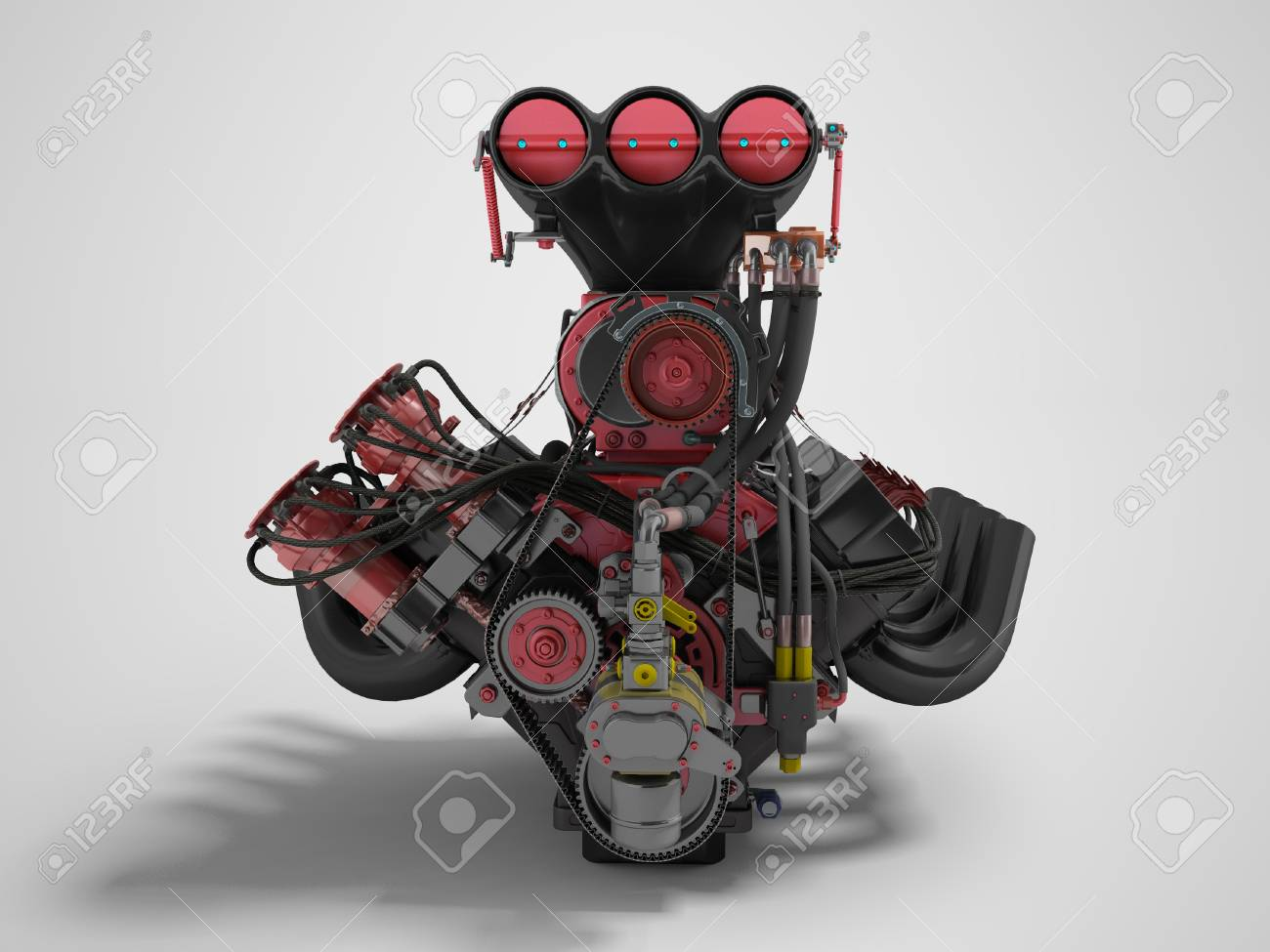 Red Engine With Supercharger Front View 3d Render On Gray 1300x975