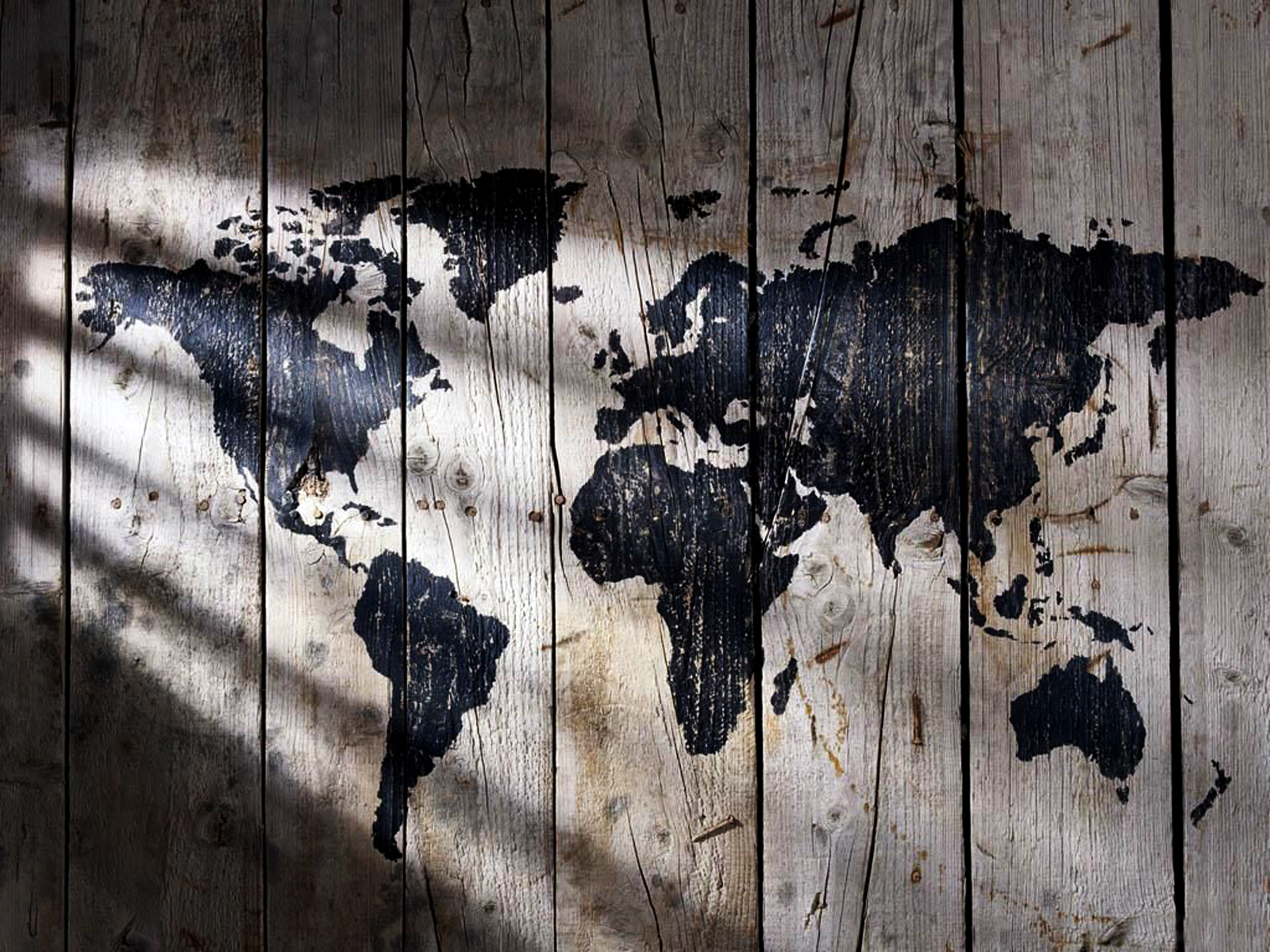 World Map Painted on Wood Texture Lights and Shadows HD Wallpaper 1600x1200