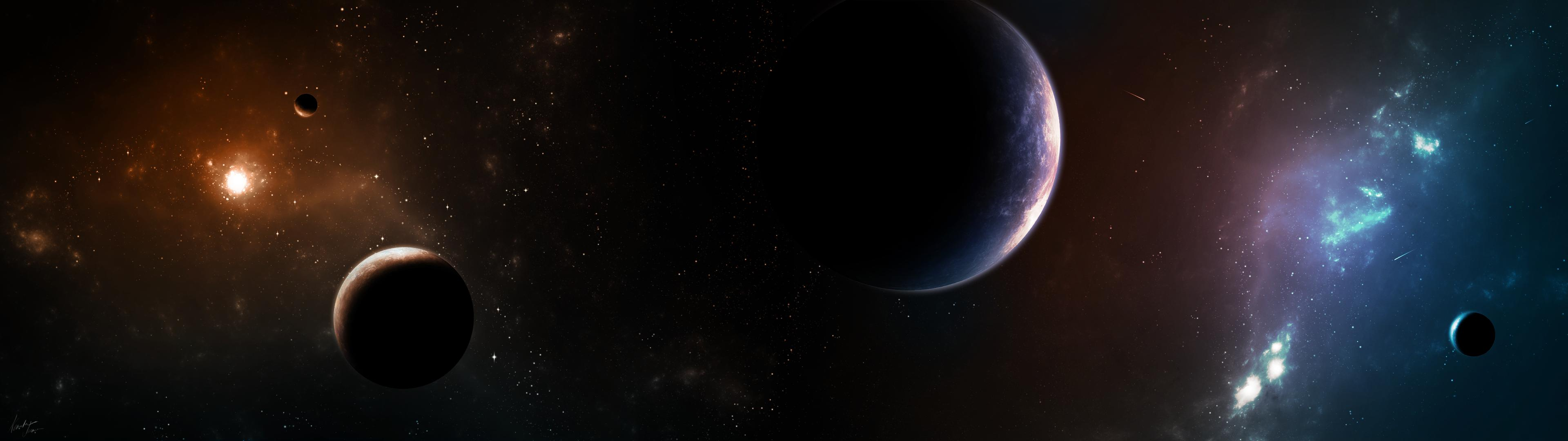 My dual screen space wallpaper [3840x1080] Wallpaper Wallpapers 3840x1080