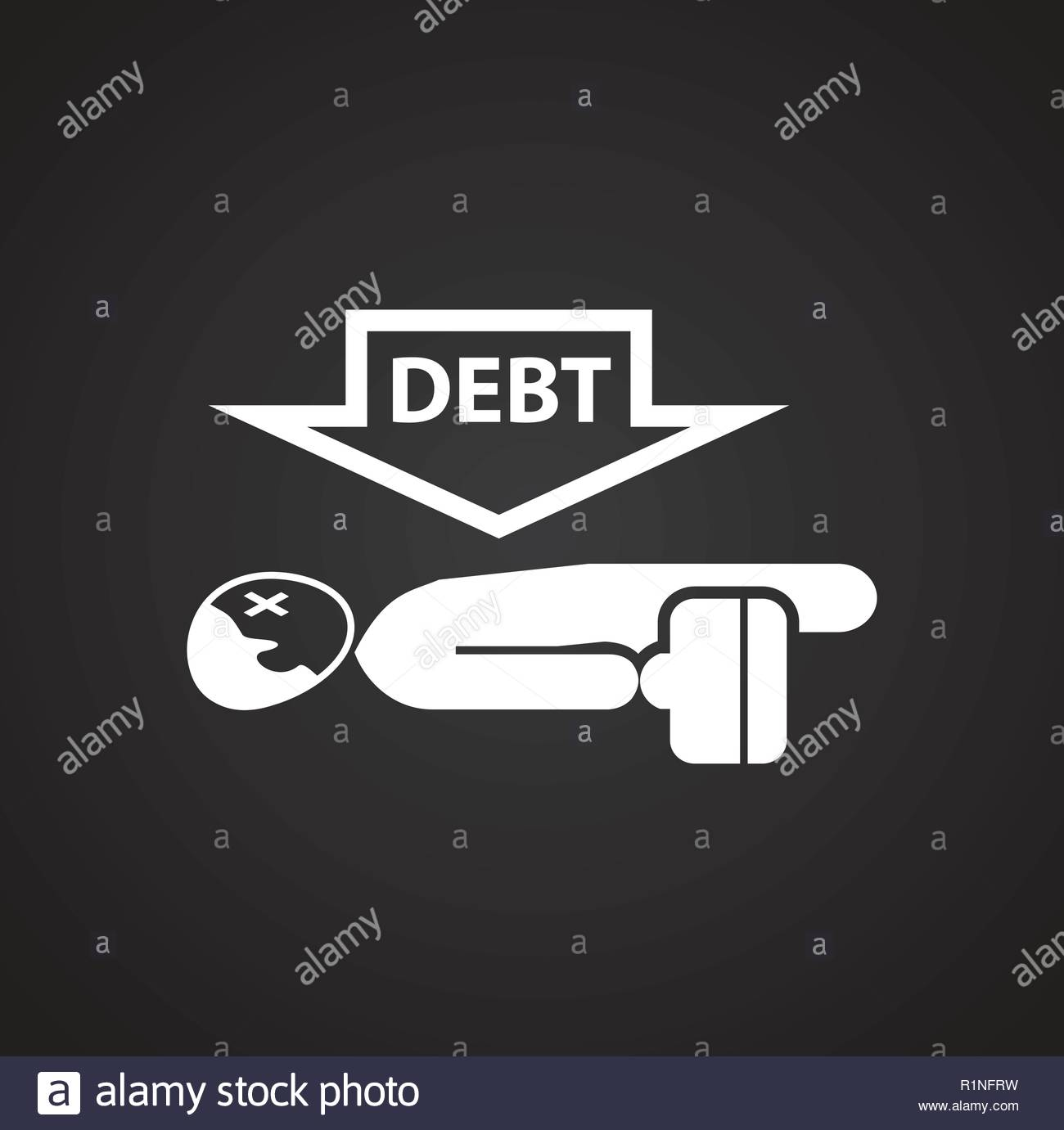 Businessman with debt on black background Stock Vector Art 1300x1381