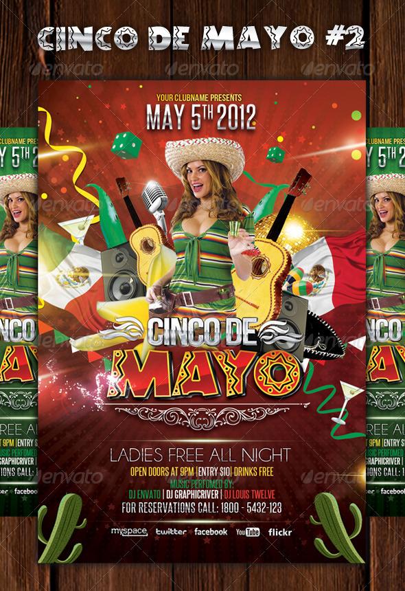 Cinco de Mayo Party   Flyer Template 2 by LouisTwelve 590x860