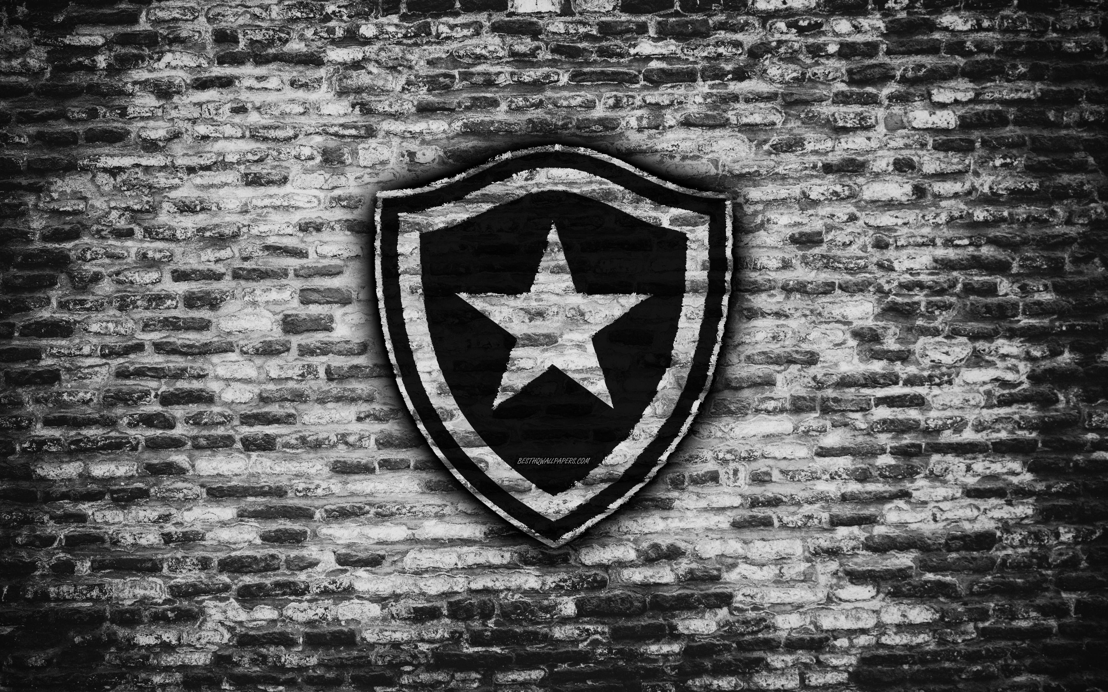Download wallpapers FC Botafogo 4k emblem Brazilian Seria A 3840x2400