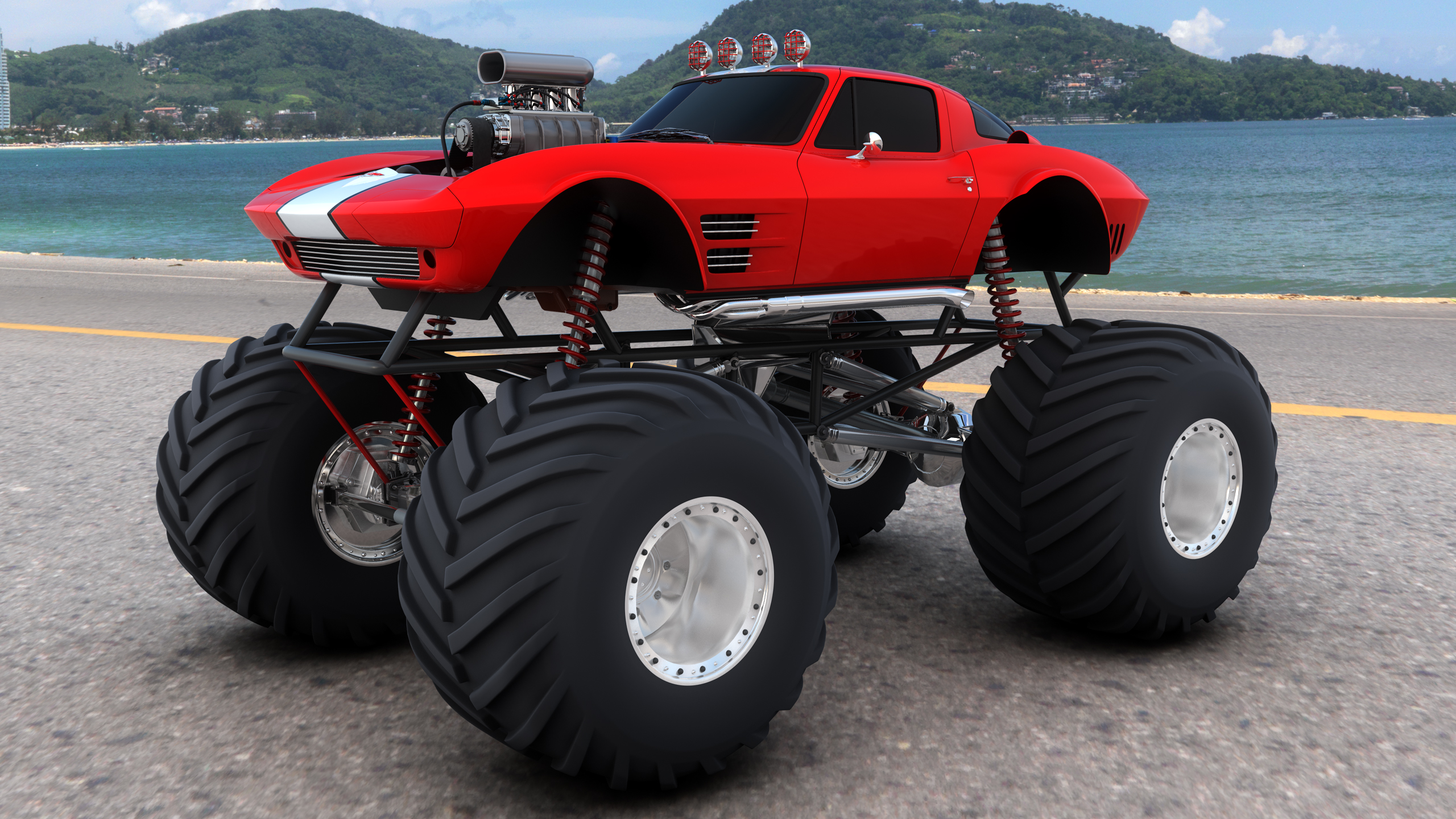 trucks 4x4 wheel wheels corvette corvettes hot rod rods wallpaper 2560x1440