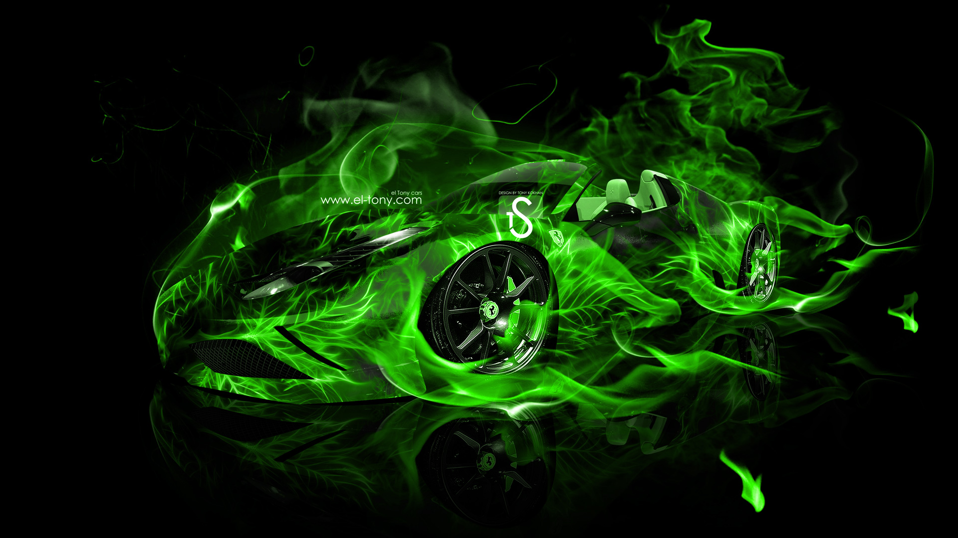 Ferrari 458 Spider Green Fire Car 2013 HD Wallpapers design by Tony 1920x1080