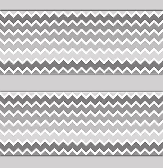 CHEVRON WALLPAPER BORDER Gray Grey Ombre Wall Decals Baby Girl Boy 570x588