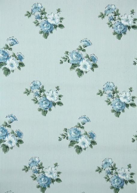 Vintage Wallpaper tiny blue and white stripe with floral bouquets 457x640