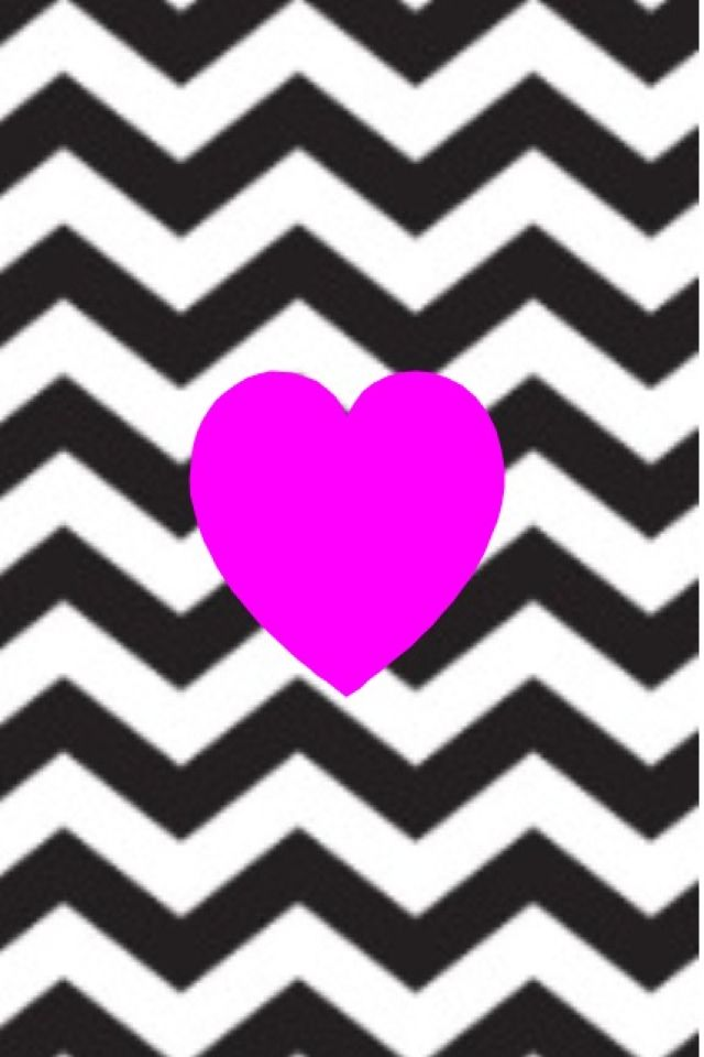 Pink heart and black and white chevron wallpaper pattern phone 640x960