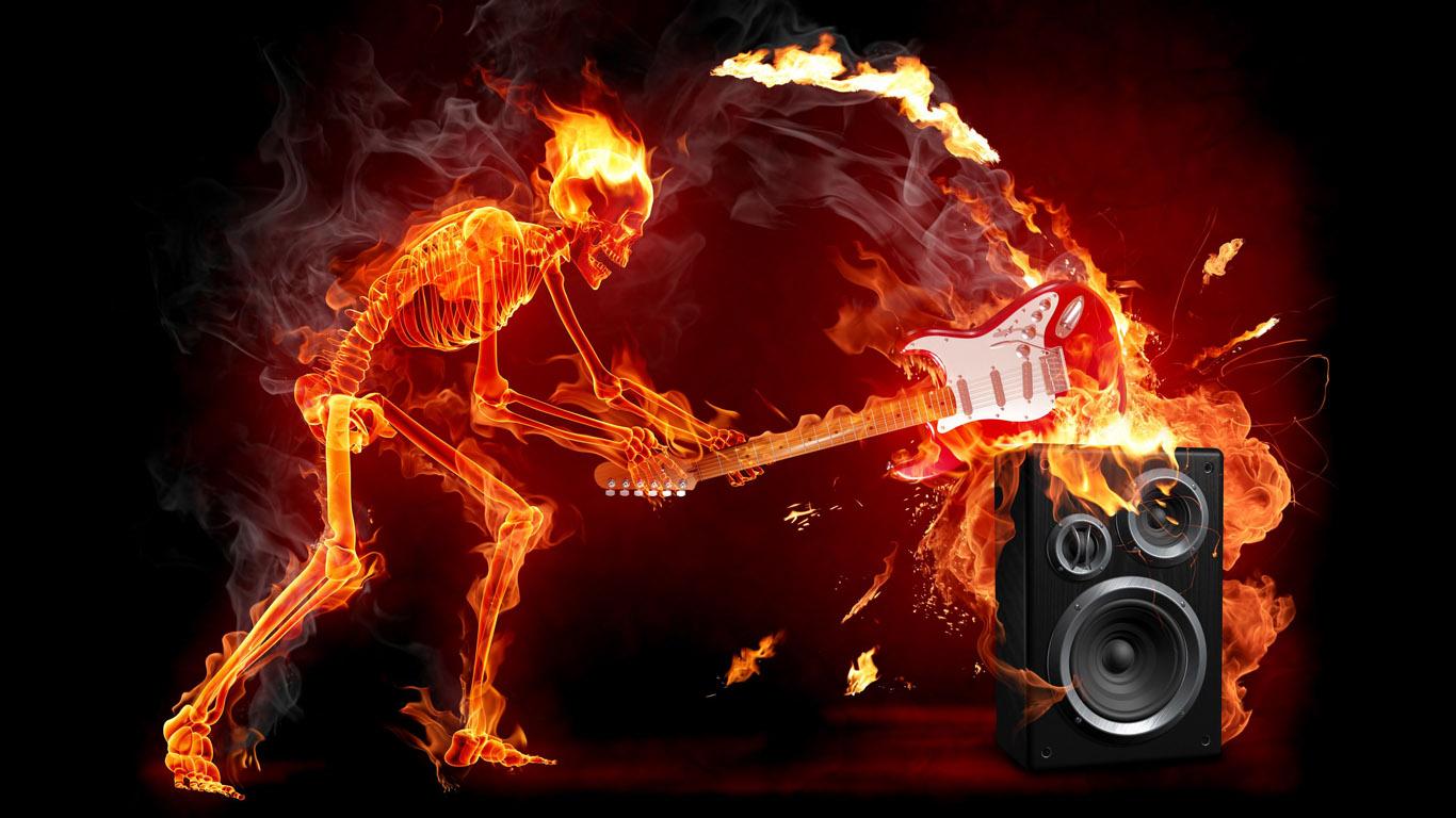 Hard Rock Skeleton Wallpaper World Wallpaper Collection 1366x768