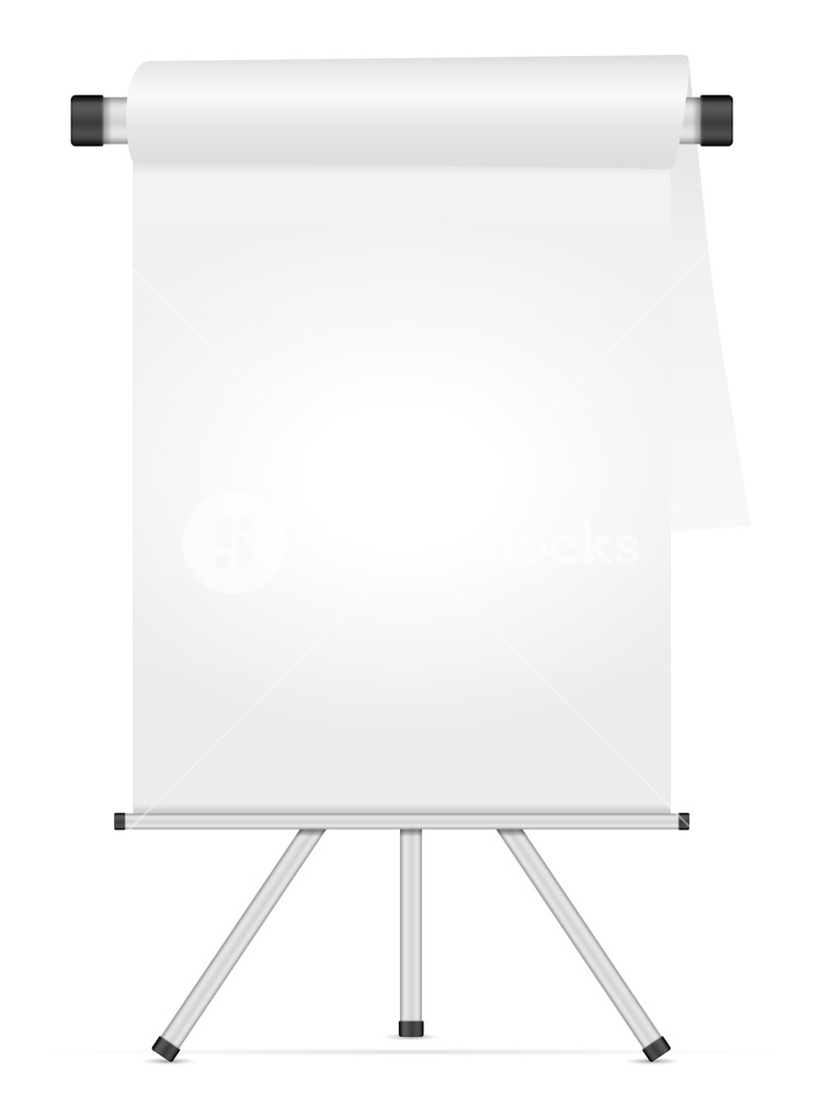 Whiteboard with tripod on a white background Royalty  Stock 750x1000