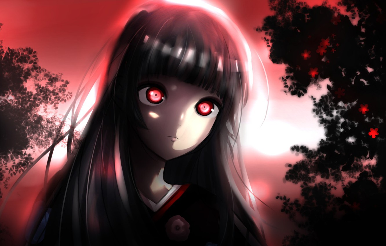 Wallpaper anime night red eyes brunette evil hell kimono 1332x850