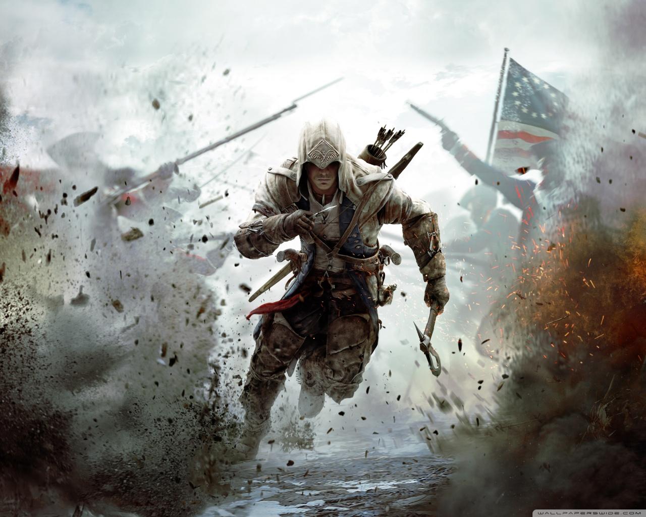 Assassins Creed 3 Connor Running HD desktop wallpaper 1280x1024