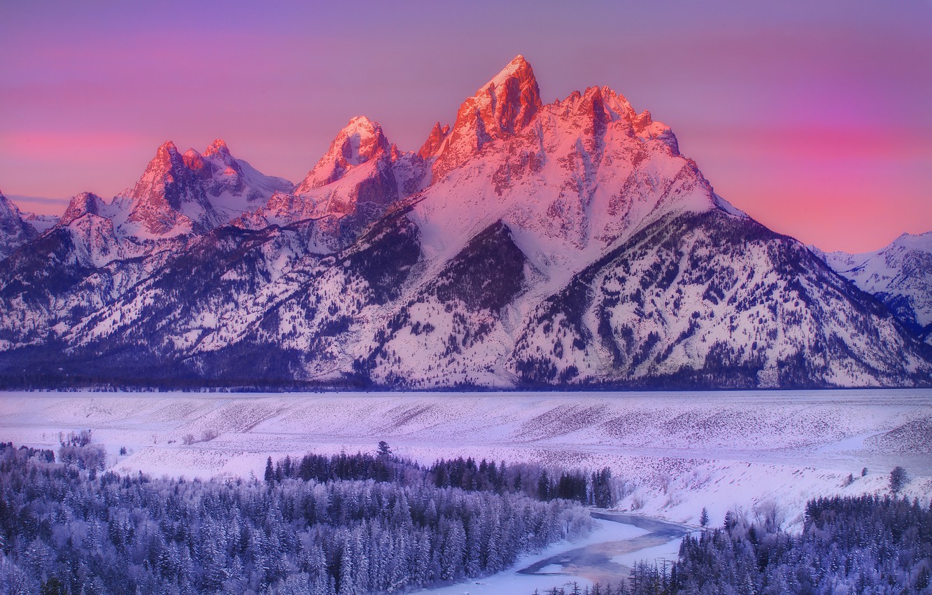 Wallpaper winter snow mountains national Park Wyoming grand 1332x850