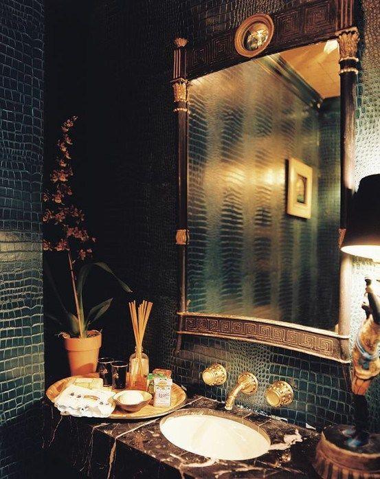 faux leather crocodile wallpaper Home Decor Pinterest 553x697