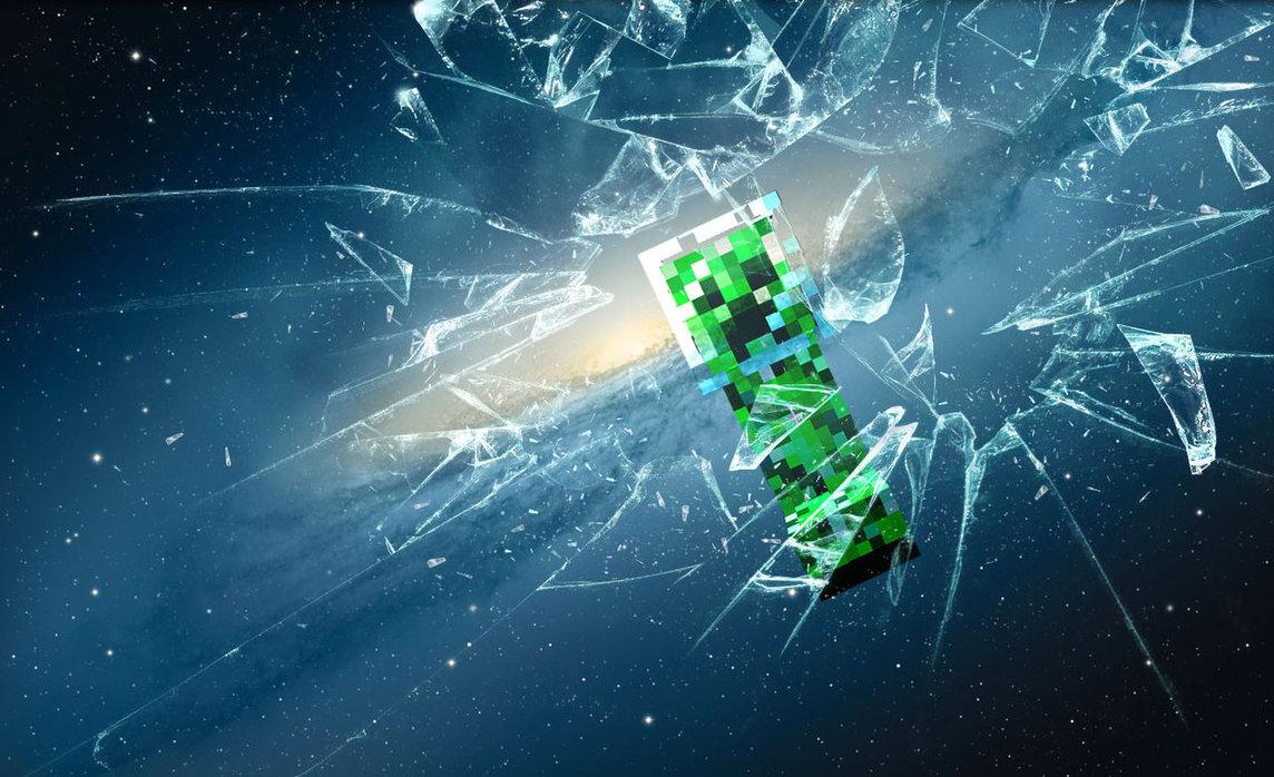 Creeper Broken Screen: Minecraft Screen Wallpaper