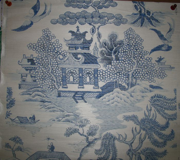 Shanghai Chinoiserie Grasscoth Print   Blue on Natural [GRP 74000 700x624