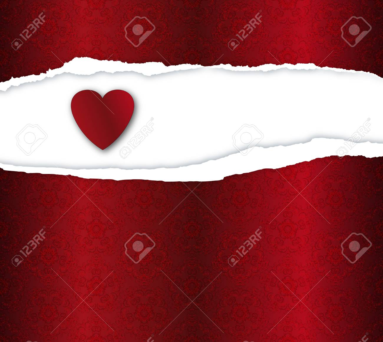 Red Background With Heard And Ripped Paper Stock Photo Picture 1300x1160