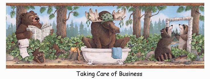 Bear Moose Raccoon Taking Care of Business 738x279