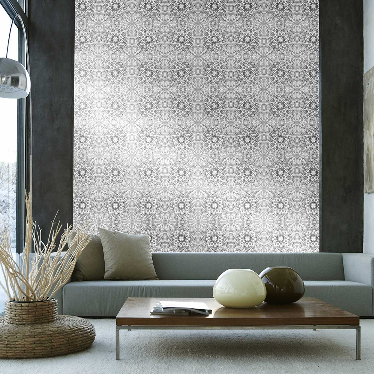 Temporary Wallpaper   Medallion   Metallic SilverBlack 1500x1500
