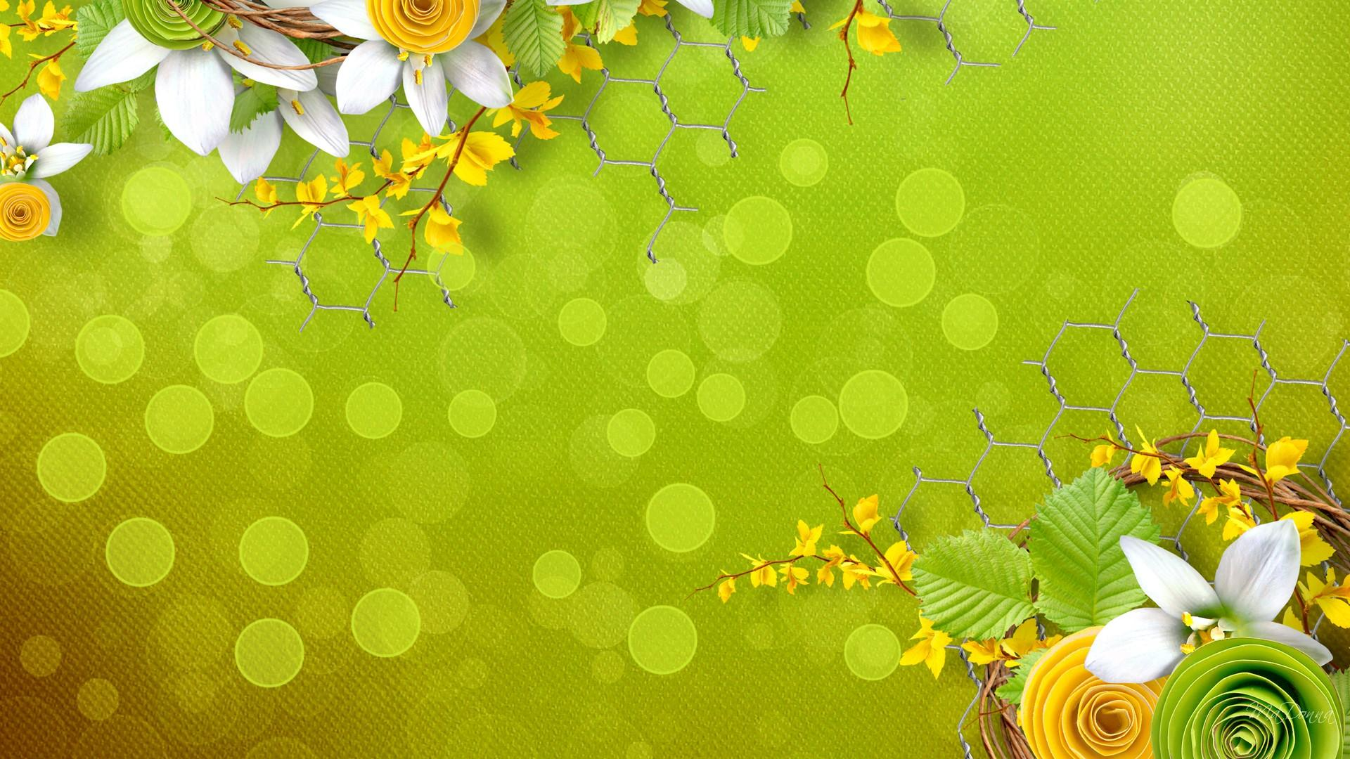 Green And Yellow Flowers Collage Hd Wallpaper Wallpaper List 1920x1080