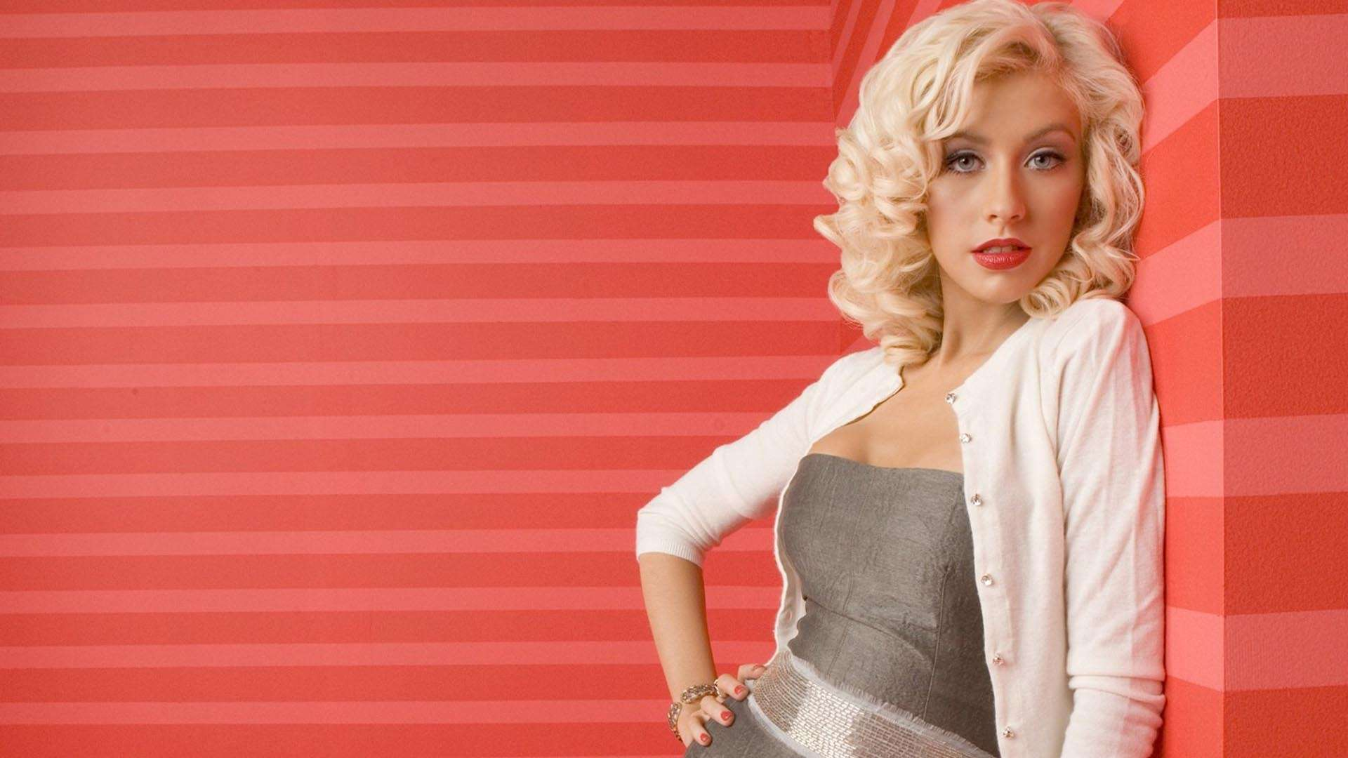Christina Aguilera Striped Red HD Wallpaper FullHDWpp   Full HD 1920x1080