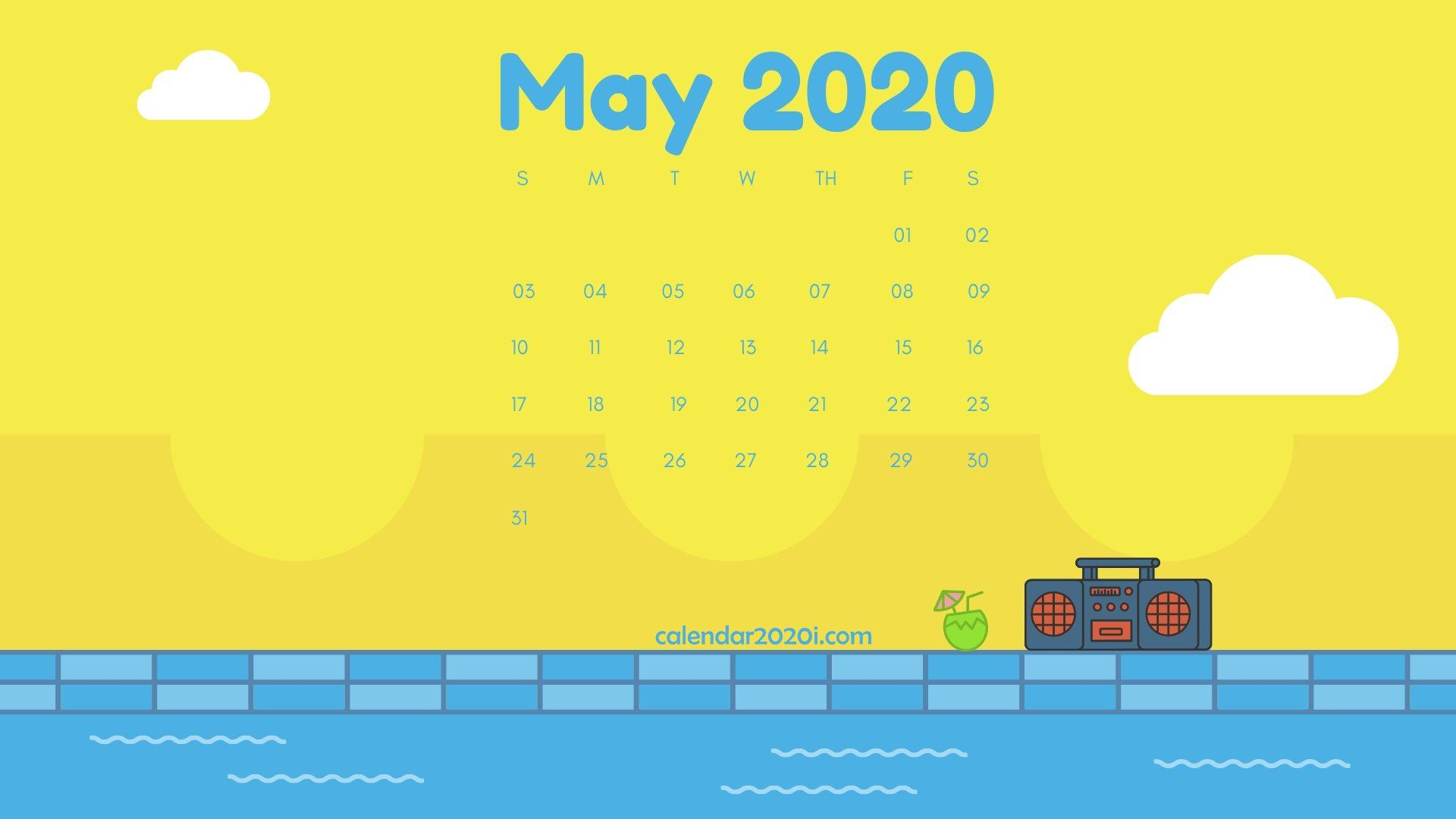 Cute May 2020 Calendar Wallpaper For Desk Floral Designs 1920x1080