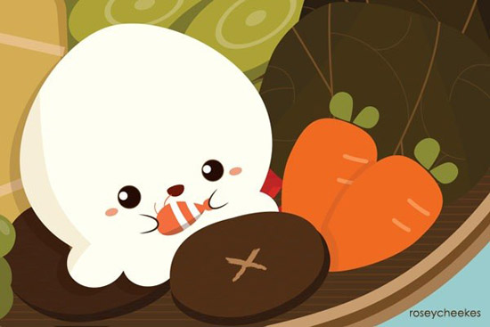 Cute cartoon food wallpapers wallpapersafari - Cute asian cartoon wallpaper ...
