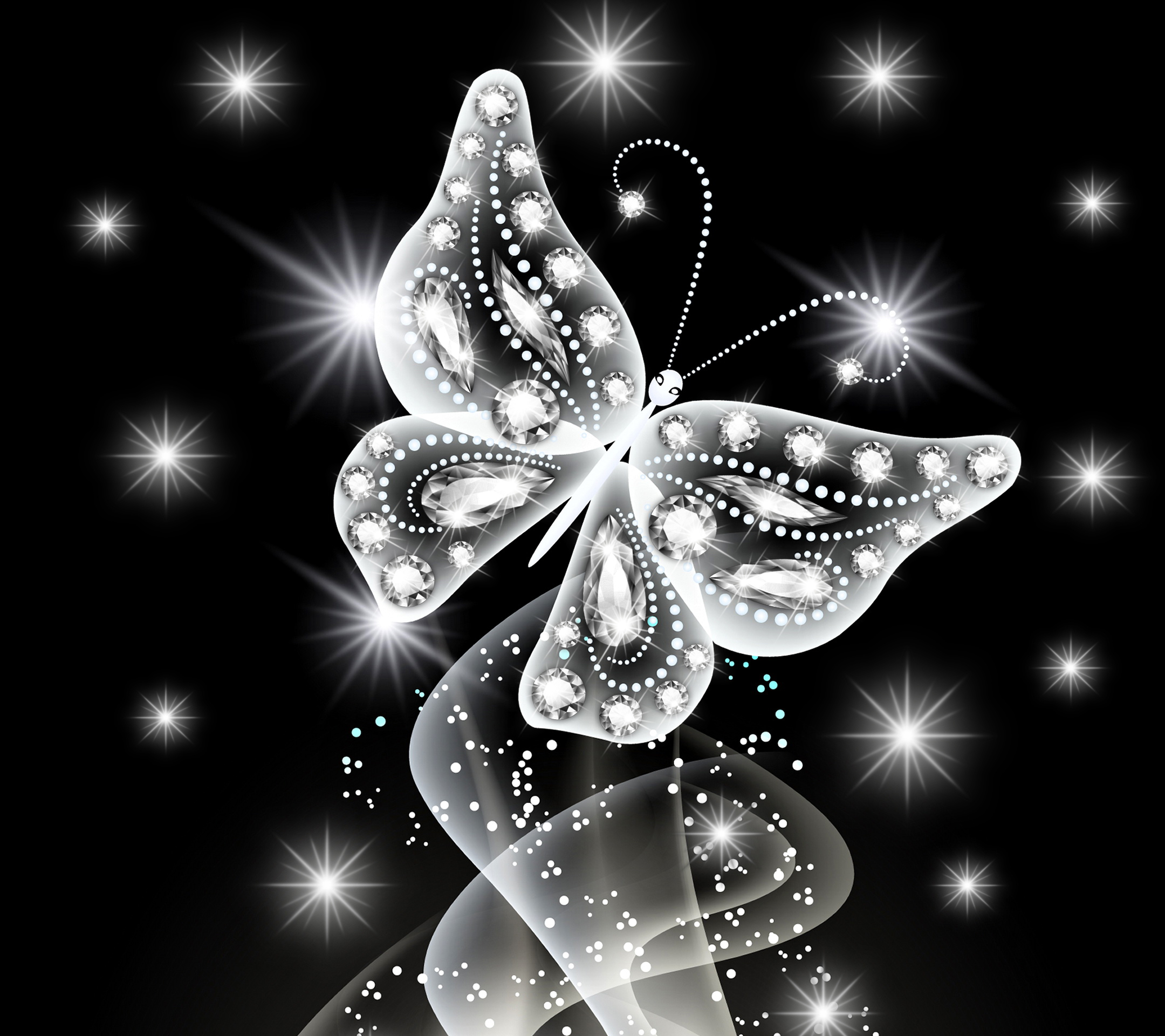 Wallpaper neon butterfly abstract white diamonds jem sparkle 2160x1920