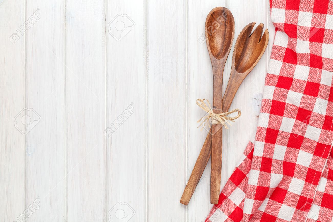 Kitchen Utensils Over White Wooden Table Background View From 1300x866