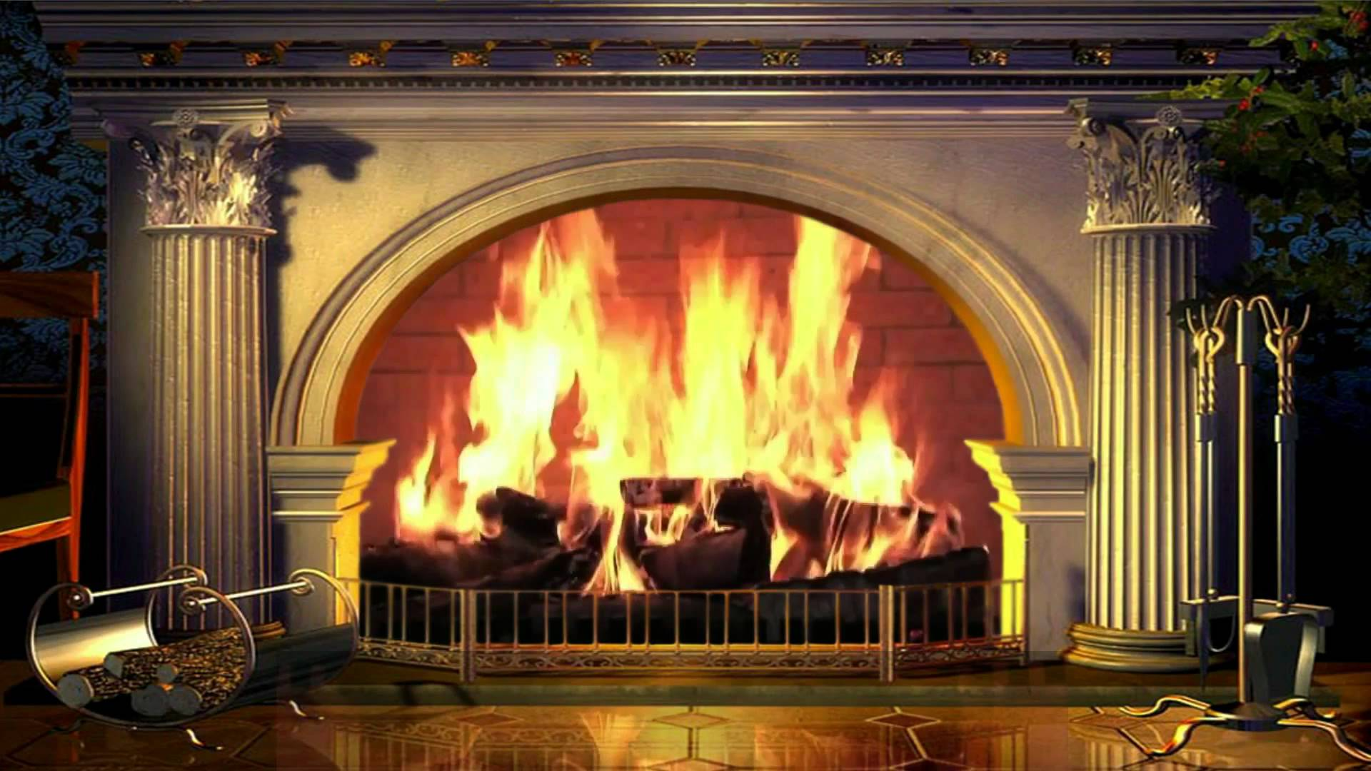 Virtual Fireplace   background video 1080p HD stock video footage 1920x1080