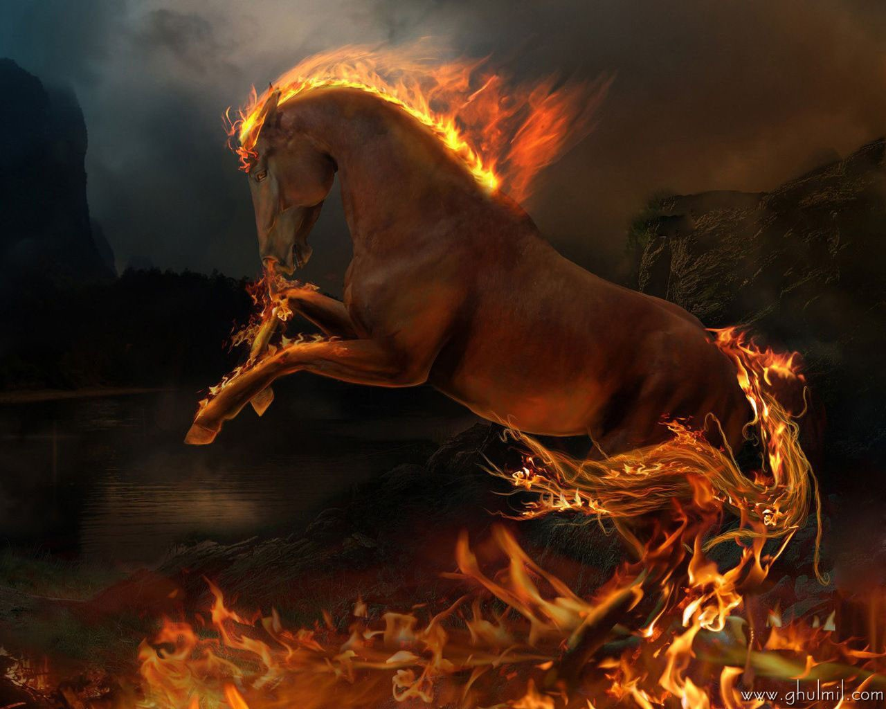 amazing 3d hd high quality high resolution fire horse wallpaper for 1280x1024