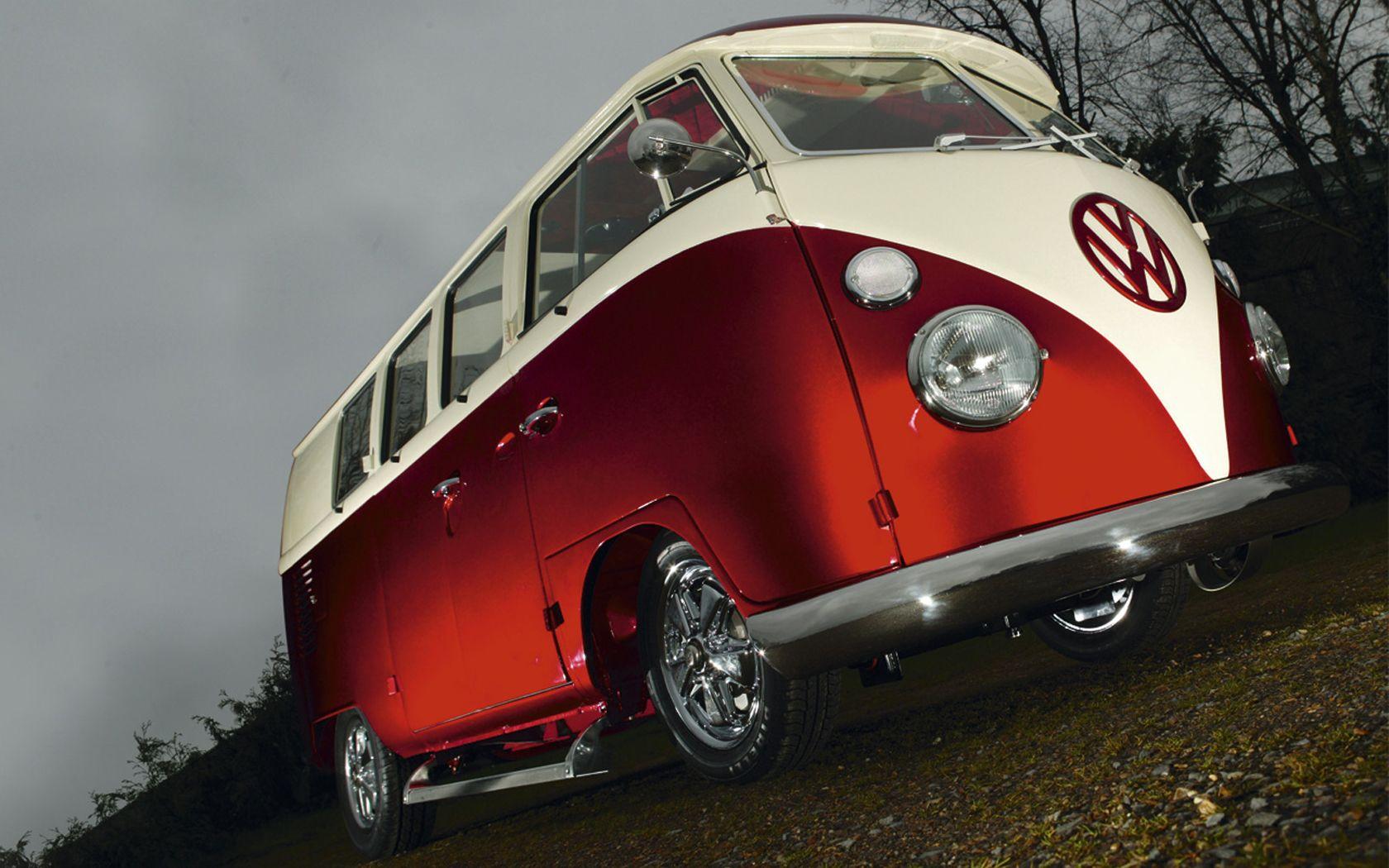 vw red volkswagen combi van bus wallpaper 1680x1050 1680x1050