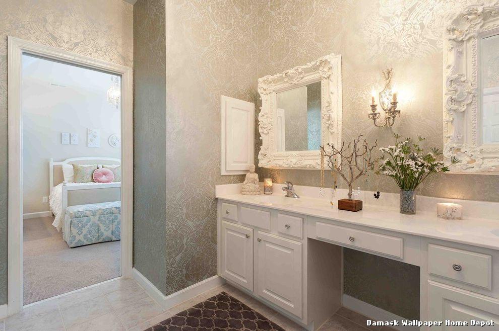 Damask Wallpaper Home Depot Eklektisch Badezimmer With Sconces By 990x658