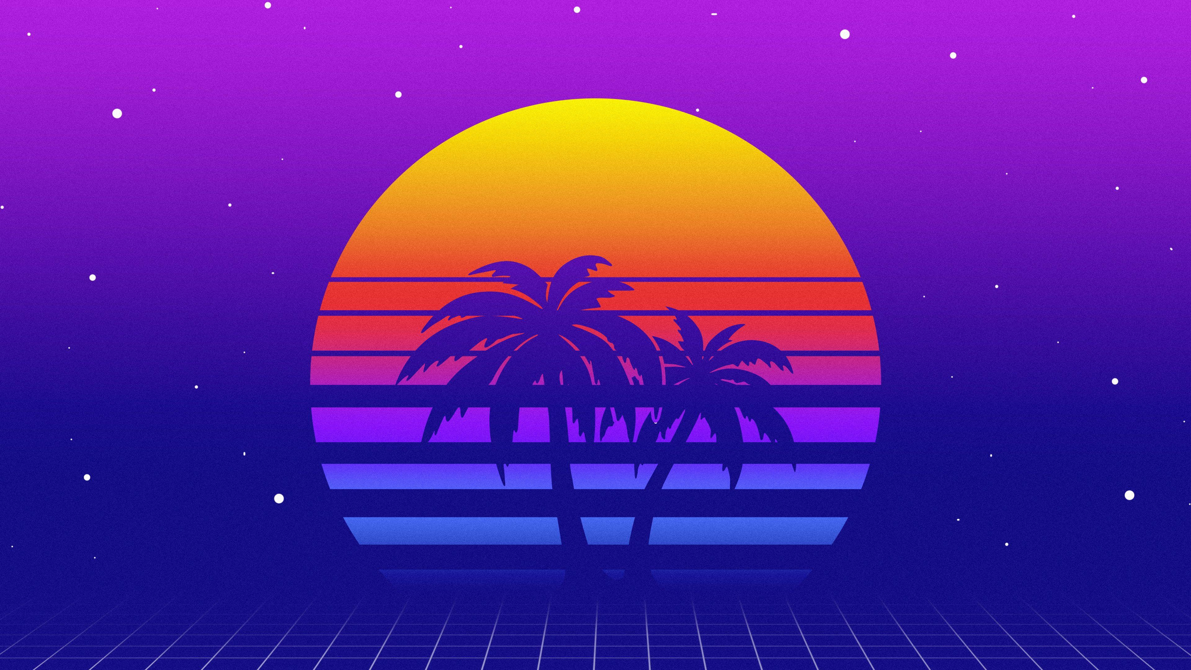 sunset retrowave digital art synthwave 4K wallpaper 3840x2160