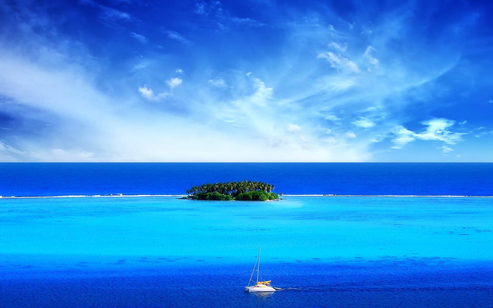 Download Sailing around the tropical island wallpaper 1680x1050