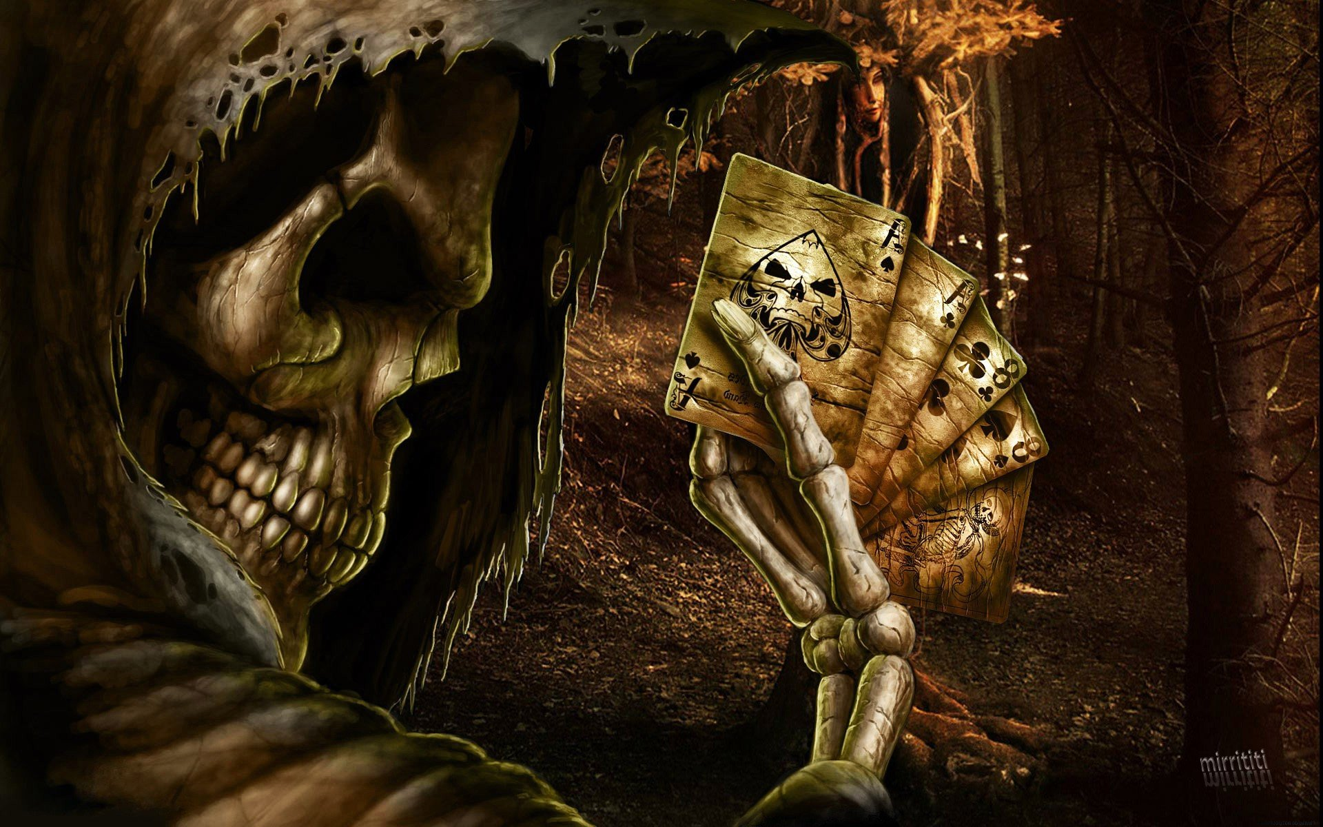 Dark Grim Reaper horror skeletons skull creepy cards games poker ace 1920x1200