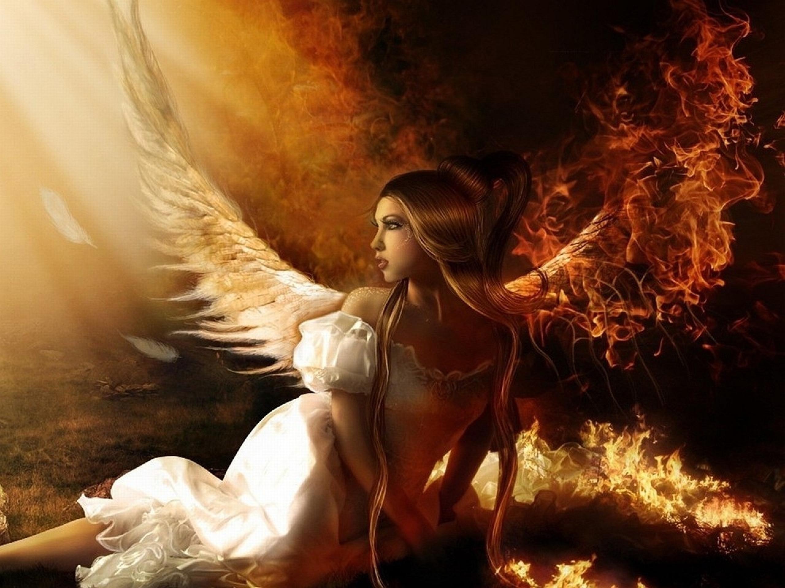 Fallen Angel on Fire   Dark Angels   Mystic Lands 2560x1920