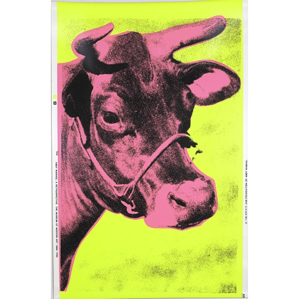 After Andy Warhol Cow Yellow and Pink Wallpaper 1989 Screenprint on 599x599