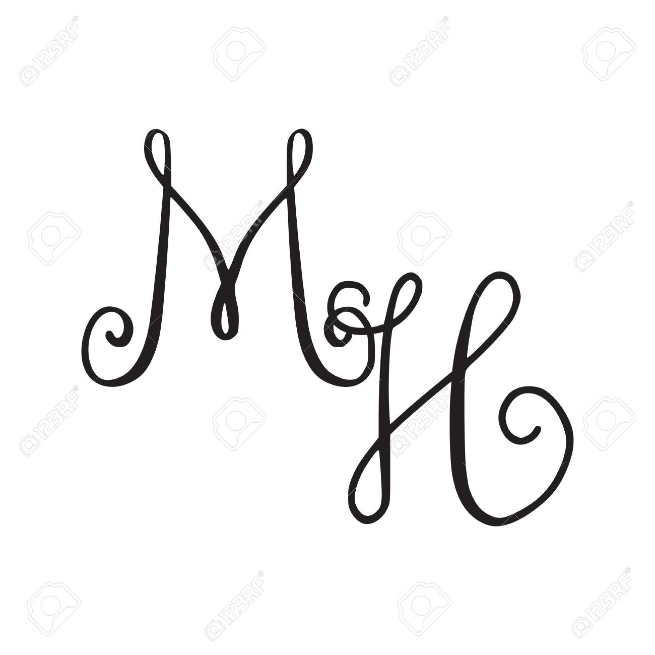 Handwritten Monogram MH Icon With Swirls Isolated On White 1300x1300
