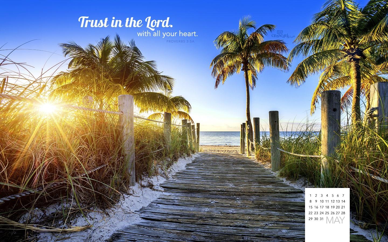 May 2016   Trust in the Lord Desktop Calendar  May Wallpaper 1440x900