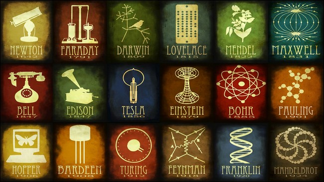This understated desktop wallpaper showcases notable names in science 650x365