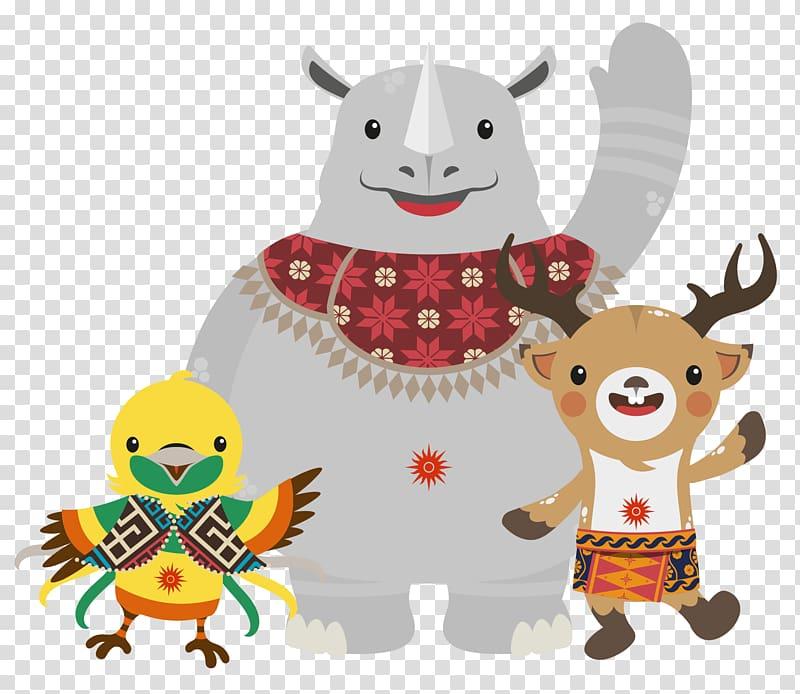 Moose bird and rhino illustrations 2018 Asian Games 2014 Asian 800x694