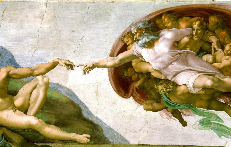 Wallpaper Michelangelo The Creation Of Adam Fresco Michelangelo 1332x850