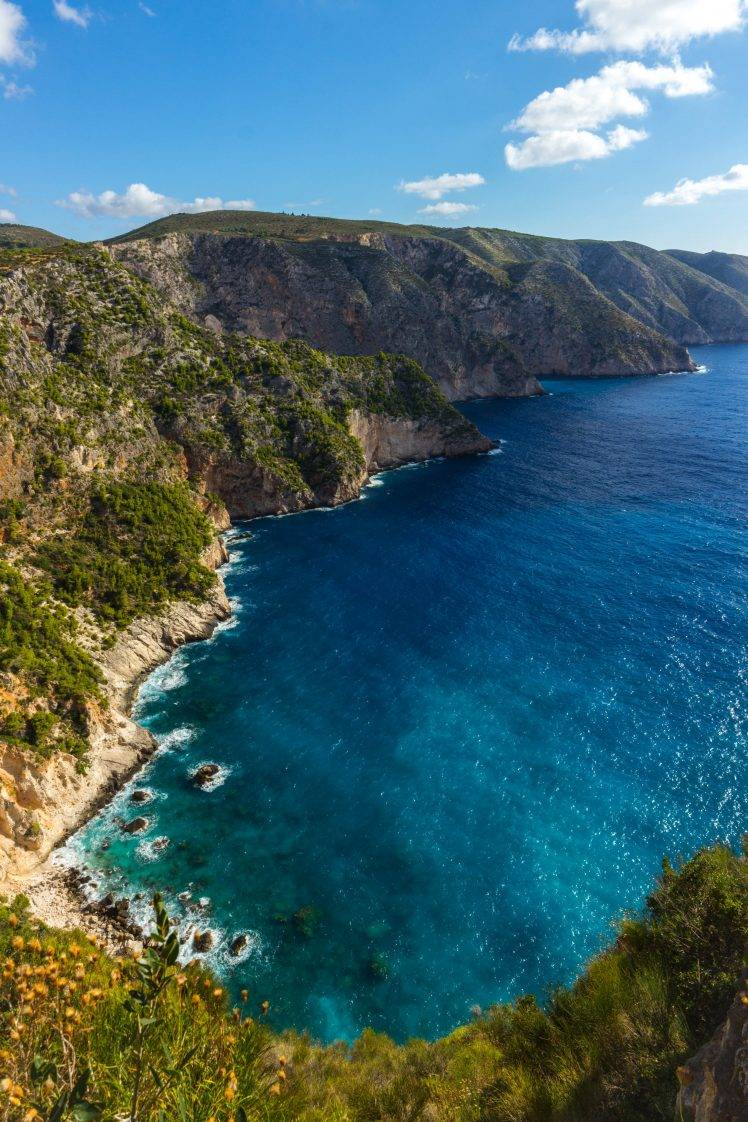 Zakynthos Greece Sea Cliff Landscape Nature Sky Wallpapers 748x1122